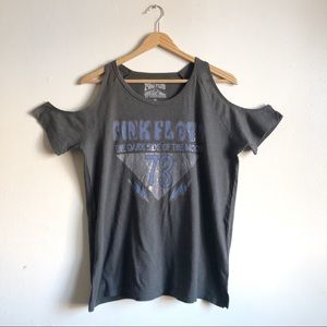 Lucky Brand Pink Floyd Cold Shoulder band Tee NWOT